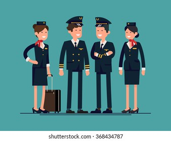 Cool flat character design on civil commercial aircrew standing isolated. Group of officers and flight attendants standing smiling. Stewardesses, pilot and copilot standing, isolated