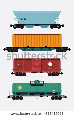 Cool Flat Design Freight Train Cargo Stock Vektorgrafik Lizenzfrei