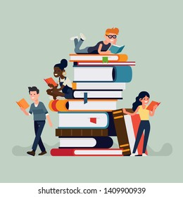 Cool flat design illustration on book lovers reading books sitting, lying and standing next to a stack of giant books. Book store or library themed concept illustration