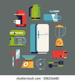 Cool flat design on essential kitchen appliances set, tools and equipment including fridge, electric mixer, coffee maker machine, toaster, electric kettle, blender, knife, meat grinder and utensils