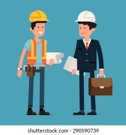 Cool flat design vector characters on building worker with hard hat helmet, orange vest and tool belt and civil engineer specialist in suit holding briefcase and papers wearing hard hat