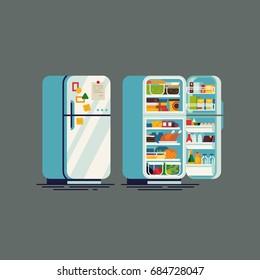 Cool flat design vector fridge. Kitchen themed illustration on open and closed fridge full of food