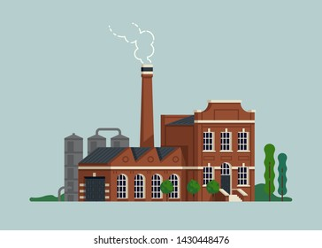 Cool flat design vector illustration on old factory plant with chimney. Old manufactory concept design