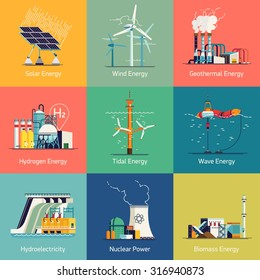 Cool flat design vector set of web icons on electricity generation plants and sources | Ecological friendly low and zero emission power plants and energy producing stations