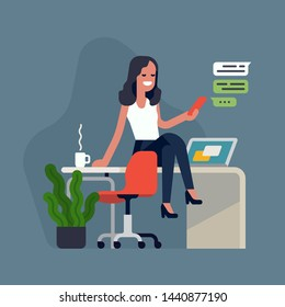 Cool flat style detailed illustration on self employment depicting confident female business owner managing her tasks with ease. Hassle free business concept design