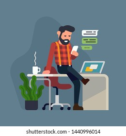 Cool flat style detailed illustration on self employment depicting confident male business owner managing his tasks with ease. Hassle free business concept design. Man having coffee break