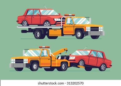 Cool flat towing trucks with broken cars | Road car repair service assistance vehicles with damaged or salvaged cars