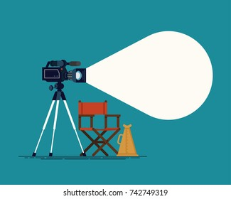 Cool flat vector background on movie making or film direction. Ideal for movie production industry themed web and graphic design