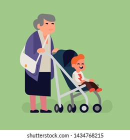 Cool flat vector character design on grandmother with child in stroller. Baby grandkid with grandma are out for a walk. Grandparenting concept illustration