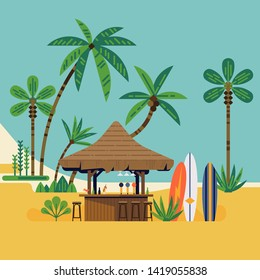 Cool flat vector graphics on Surf beach with cocktail bar, surf boards and palm trees. Summer vacation destination concept design