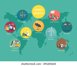 Cool flat vector illustration on global world electric power sources. Energy sources  consumption. Wind, nuclear, solar, hydrogen and other energy use. Electricity usage infographic elements