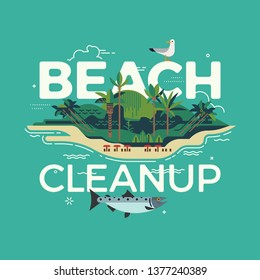 Cool flat vector visual on Beach Cleanup with tropical island, sand beach, chunky caption and seagull. Environment protection themed illustration