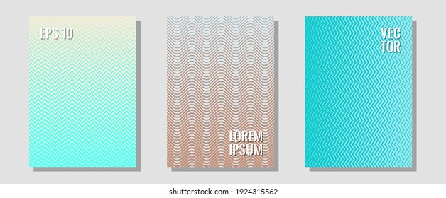 Cool flyers set, vector halftone poster backgrounds. Contemporary collection. Zigzag halftone lines wave stripes backdrops. Music placards. Geometric lines shapes patterns set for flyer design.