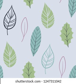Cool foliage seamless pattern. Plant leaves nature pattern. Modern repeat pattern
