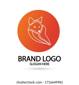 Cool Fox Logo in line style with orange circle . For modern Business company brand logo design vector illustration.