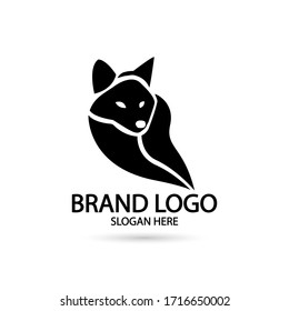 Cool Fox Logo in silhouette black and white style. For modern Business company brand logo design vector illustration.