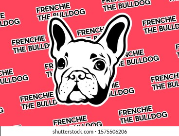 Cool Frenchie The Bulldog poster. An adorable french bulldog face design in silhouette sticker style on red banner background.