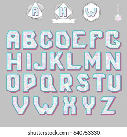Cool fun font. Vintage typography. Color geometry 3d alphabet. Vector Illustratiom EPS10.