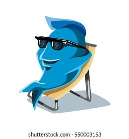 Cool Funny Cute Dude Cartoon Character FIsh Taking Sunbath on Beach Chair