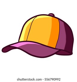 Cool and funny yellow purple sport hat - vector.