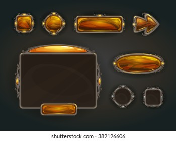 Cool game user interface vector assets, medieval war GUI concept