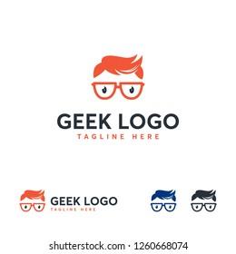 Cool Geek Logo designs vector, Stylist Geek Boy logo symbol, Logo symbol icon template