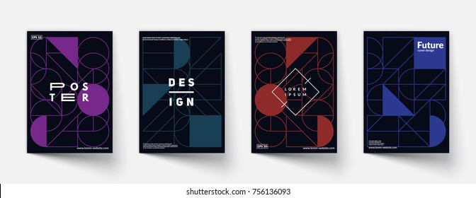 Cool geometric covers design. Simple shapes composition. Futuristic patterns. Eps10 vector.