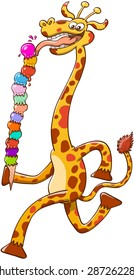 Cool giraffe with long neck and big smile while striding and eating voraciously a colorful tower of ice cream composed by thirteen balls in different flavors and in a very unsteady balance