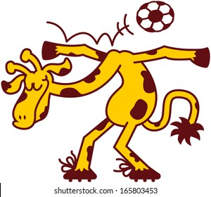 Cool giraffe performing acrobatics with a soccer ball which it makes pass above its arms and shoulders while bending, keeping a cool attitude and smiling