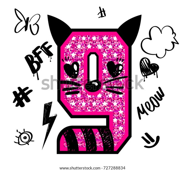 Cool Girl T Shirt Number 9 Stock Vector Royalty Free 727288834