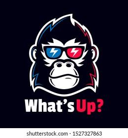 cool Gorilla head wear eyeglasses logo  design