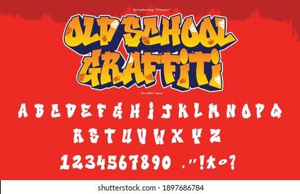 Cool Graffiti Font and Alphabet Vector