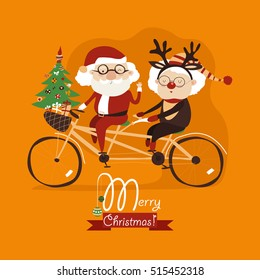 Cool grandma with grandpa as santa claus and reindeer riding a bicycle tandem