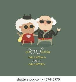 Cool grandma and grandpa wearing in leather jacket