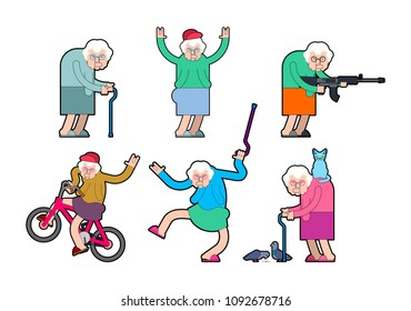 Cool Grandmother set. Grandma Rock Hand sign. On bicycle and dancing. With gun and cat. Old lady In cap. Vector illustration