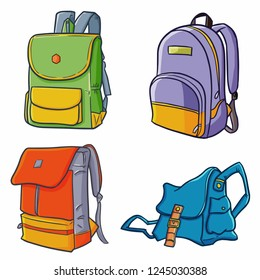 Cool and great fashionable backpack set for many activities - vector.