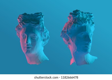 Cool Greek Apollo Head Vector 3D Rendering