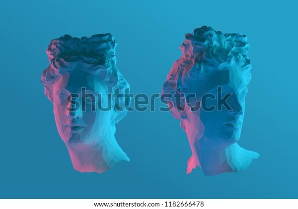 Прохладный греческий Аполлон Глава вектор 3D визуализации