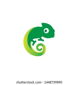 COOL GREEN CHAMELEON DESIGN VECTOR LOGO.