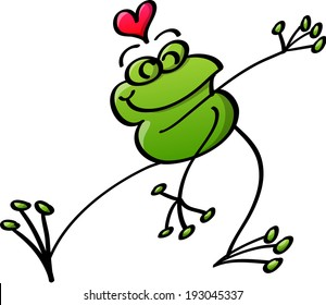 Cool green frog crossing its arms, stretching its right leg and showing a red heart above its head while dancing animatedly and feeling in love