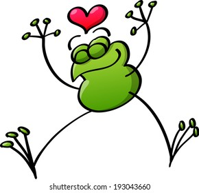 Cool green frog jumping out of joy because it is in love, clenching its eyes, extending its arms and legs and showing a red heart above its head