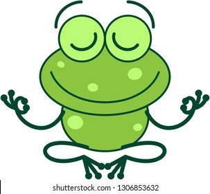 Cool green frog with long legs and arms doing a Gyan mudra sign with both hands. It's happily smiling while seated in peaceful meditation