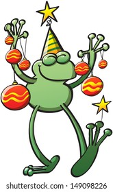 Cool green frog wearing a hat, closing its eyes and holding decorative baubles and stars while smiling and celebrating Christmas