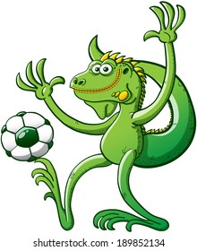 Cool green iguana performing a stunt consisting on holding a soccer ball with a toe of its right foot while raising its arms, keeping balance, posing and smiling with great satisfaction