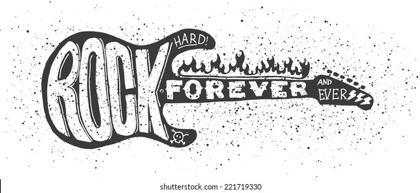 Cool grunge hand drawn electric guitar with distorted text in it. Rock Forever. EPS10 vector image.