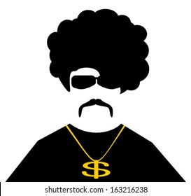 cool guy with gold chain necklace and large afro