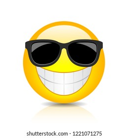 Cool happy emoji with sunglasses on white background