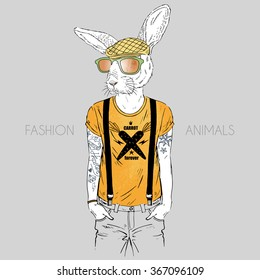 cool hare hipster boy with tattoo, fashion animal