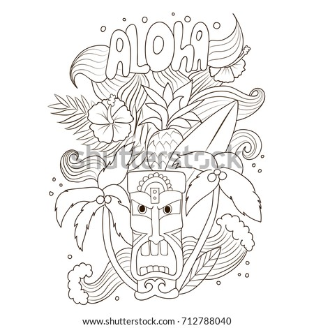 Cool Hawaii Doodle Coloring Page With Aloha Tropical Flowers And Leaves Surfboard Sea