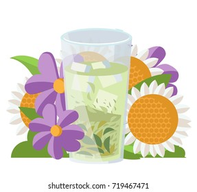 cool herbal drink with flowers